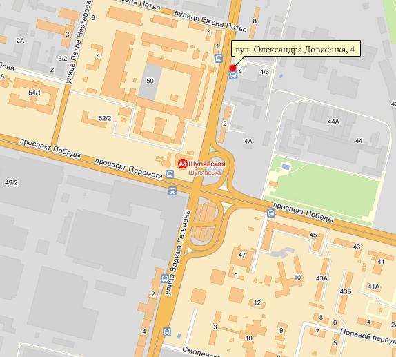 """Схема расположения салона  """"ЛОНDА """" на ул. Александра Довженко, 4б.  Парикмахерские услуги.  Категории."""